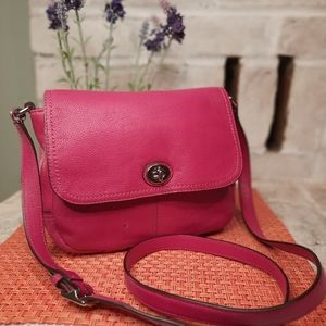 Hot Pink Leather Coach Crossbody